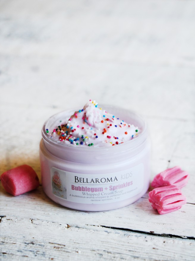 Bubblegum + Sprinkles Whipped Cream Soap-kids,bubblegum,sprinkles,body wash,soap,whipped soap,cream,creme,kids,children,tween,teen