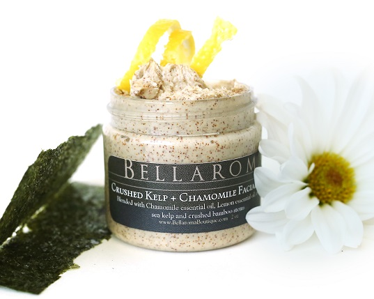Crushed Kelp + Chamomile Facial Scrub-Crushed Kelp Lemon Chamomile Facial Scrub,seaweed,detox,minerals,vitamins,sea salt,bamboo,emmy awards gift,celebrity