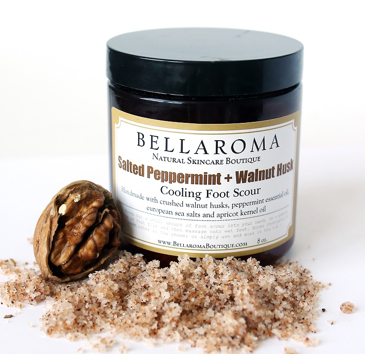 Salted Peppermint + Walnut Husk Foot Scour-Salted Peppermint and Walnut Husk Foot Scour,foot scrub,feet