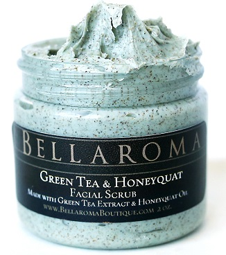 Green Tea + Honeyquat Facial Scrub-Green Tea Honeyquat Facial Scrub,Honey,anti aging,cleansing,walnut,gentle,mild