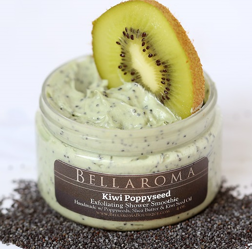 Kiwi Poppyseed Exfoliating Shower Smoothie-kiwi,poppyseed,cleanser,exfoliating,shower,bath,smoothie,body wash